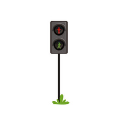 Traffic lights regulating movement pedestrians vector