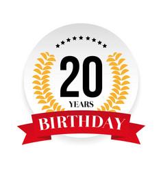twentieth birthday badge label vector image