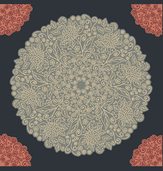 Vintage floral pattern round shape vector