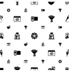 wedding icons pattern seamless included editable vector image