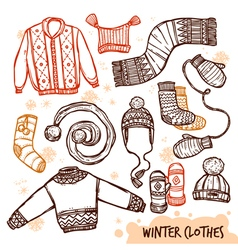Winter Knitted Clothes Set vector image