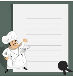 chef with menu and recipe vector image vector image