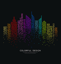 colorful building dot design background vector image