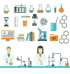 Laboratory symbols science and chemistry icons vector image vector image