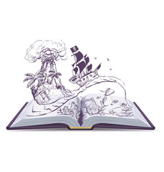 open book about pirates and treasure ship vector image vector image