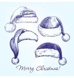 Santa stocking hat set hand drawn vector image