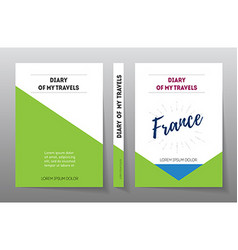 Cover for diary of travels in France A4 Brochure vector image