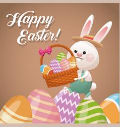 happy easter card rabbit holding basket egg vector image vector image