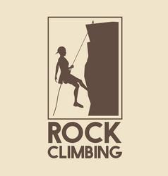 Poster logo silhouette man mountain descent rock vector