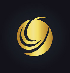 round swirl abstract design gold logo vector image