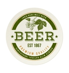 beer emblem with hand drawn hop brunch vector image