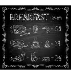 Breakfast chalkboard menu vector image