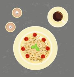 delicious pasta and coffee vector image