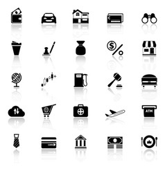 E wallet icons with reflect on white background vector image vector image