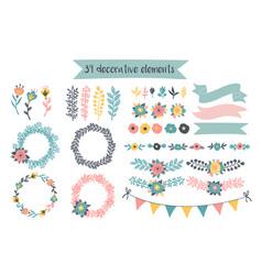 hand drawn decorative elements vector image