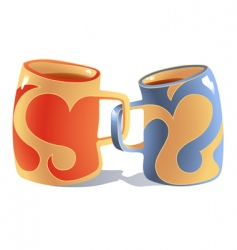 mugs in love vector image vector image