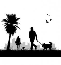 people walking dogs vector image