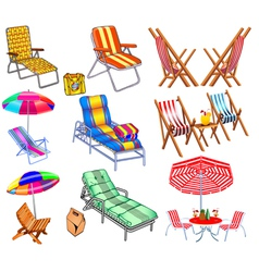 set of chairs sun beds and umbrellas vector image