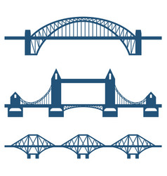 set of flat bridge icons isolated on white vector image vector image