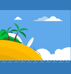 sunny tropical beach with surfboard vector image