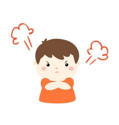 cute cartoon angry boy character vector image