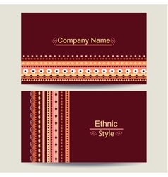 Ethnic business card template vector image vector image