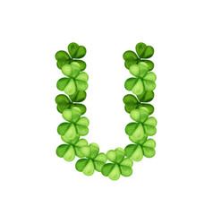 Letter u clover ornament vector