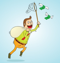 man chasing money vector image vector image