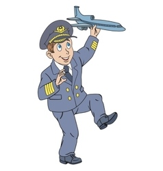 Pilot with plane vector image vector image