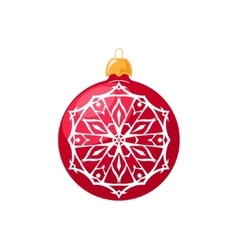 Red Ball with Snowflake Isolated on White vector image