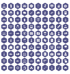 100 war icons hexagon purple vector