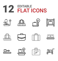 12 baggage icons vector