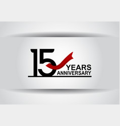 15 years anniversary design with red ribbon vector