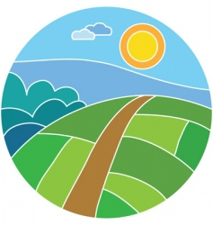 Agricultural fields vector