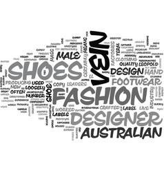 Australian designer shoes text word cloud concept vector