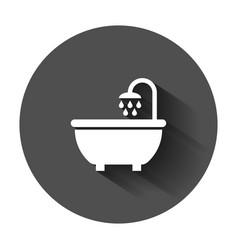 bath shower icon in flat style bathroom hygiene vector image