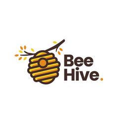 bee hive tree branch logo icon vector image