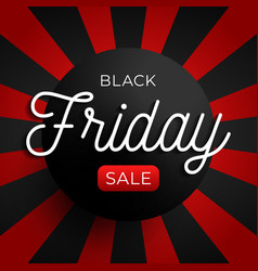 black friday sale circle banner on red and black vector image
