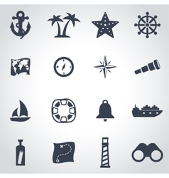 Black nautical icon set vector
