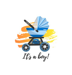 blue baby stroller for baby boy vector image