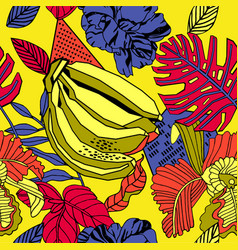 bright tropical background with exotic plants vector image
