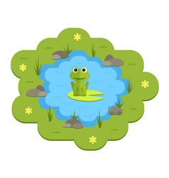 Cartoon garden pond with water vector