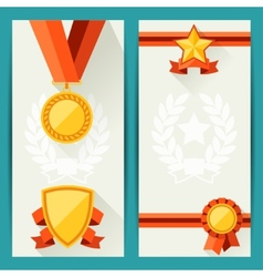 Certificate templates with awards in flat design vector