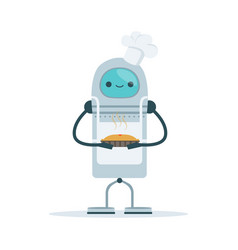 Chef android character baking a cake vector