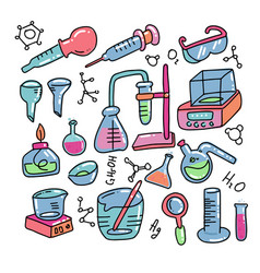 chemistry decorative color hand drawn icons set vector image