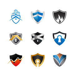 collection of abstract shield logo design vector image