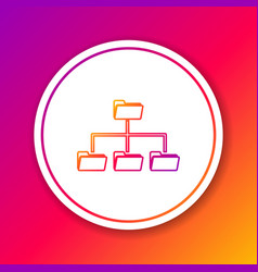 Color folder tree line icon isolated on color vector