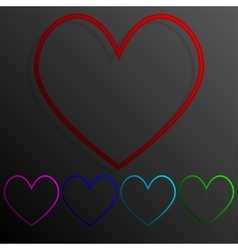 Color set heart banners frame template for design vector