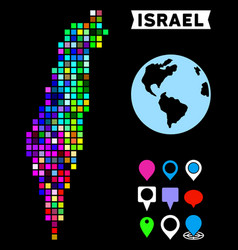Colored dotted israel map vector
