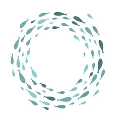 Colored silhouettes school of fish a group vector